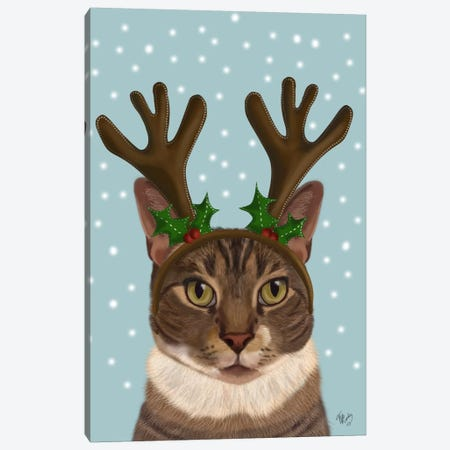 Calico Cat and Antlers Canvas Print #FNK551} by Fab Funky Canvas Art