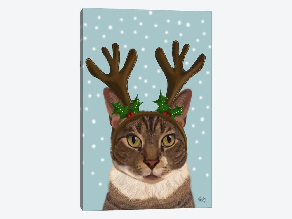 Calico Cat and Antlers 1-piece Canvas Wall Art
