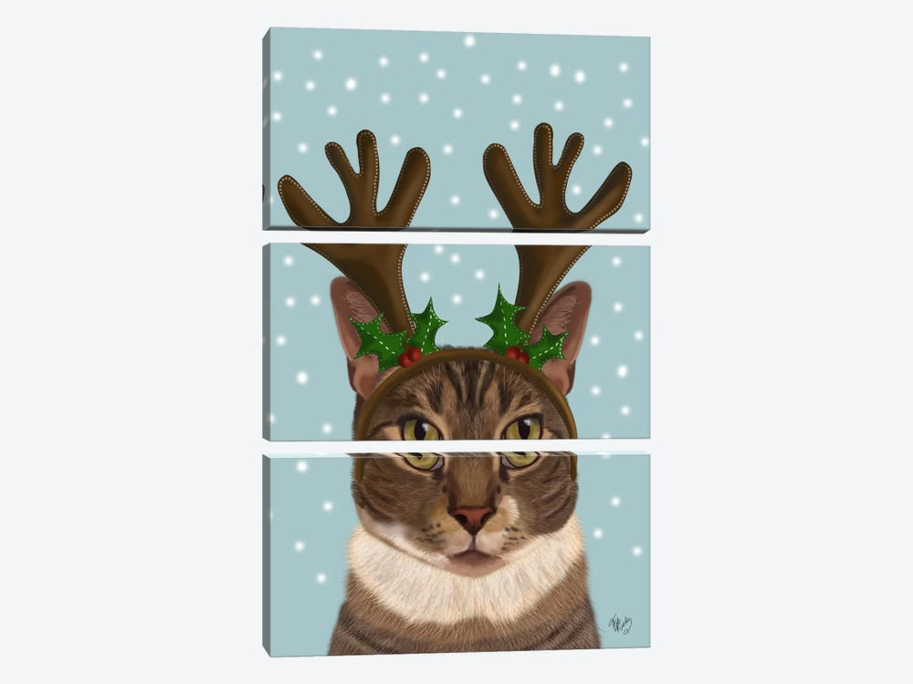 Calico Cat and Antlers 3-piece Canvas Artwork