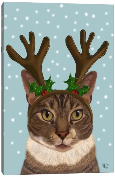 Calico Cat and Antlers Canvas Art Print