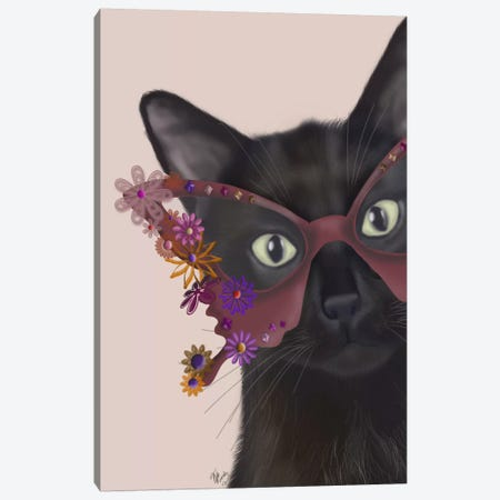 Cat and Flower Glasses Canvas Print #FNK552} by Fab Funky Canvas Wall Art