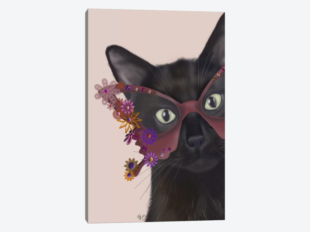 Cat and Flower Glasses by Fab Funky 1-piece Canvas Art Print