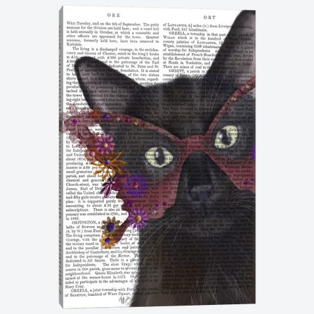 Cat and Flower Glasses, Print BG Canvas Print #FNK553} by Fab Funky Canvas Artwork