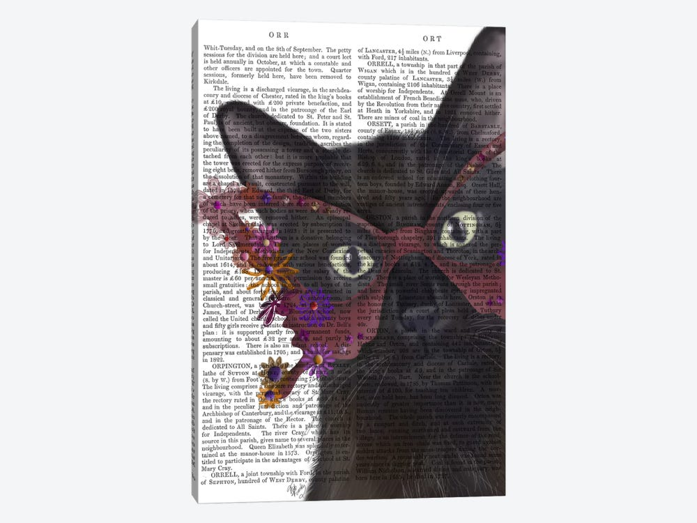 Cat and Flower Glasses, Print BG by Fab Funky 1-piece Canvas Art