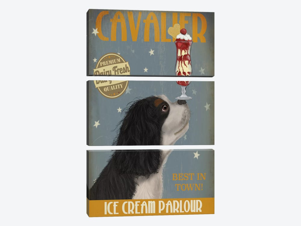 Cavalier King Charles, Black White, Ice Cream by Fab Funky 3-piece Canvas Art Print