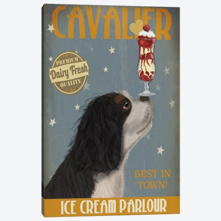 Cavalier King Charles (Black White) Ice Cream Parlour Canvas Print #FNK554} by Fab Funky Canvas Print