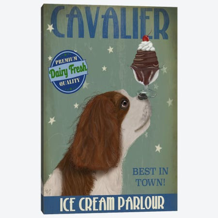 Cavalier King Charles (Brown White) Ice Cream Parlour Canvas Print #FNK556} by Fab Funky Art Print