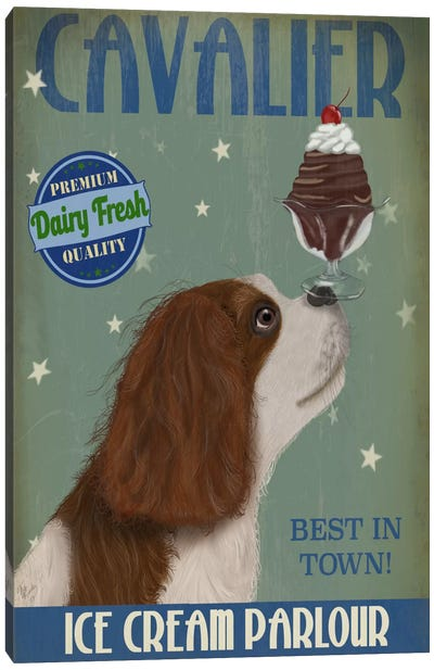 Cavalier King Charles (Brown White) Ice Cream Parlour Canvas Art Print