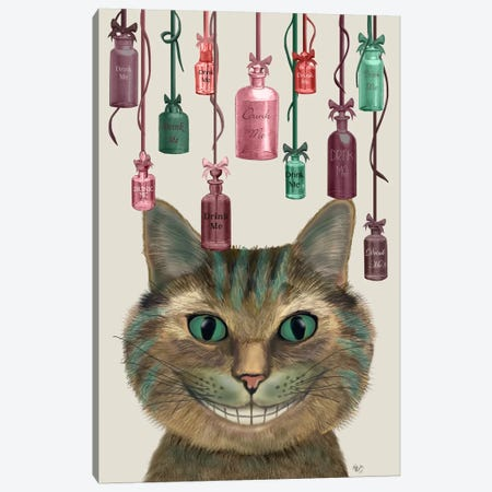 Cheshire Cat and Bottles Canvas Print #FNK558} by Fab Funky Canvas Art