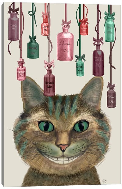 Cheshire Cat and Bottles Canvas Art Print