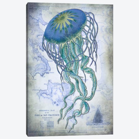 Jellyfish On Image Of Nautical Map Canvas Print #FNK55} by Fab Funky Canvas Art Print