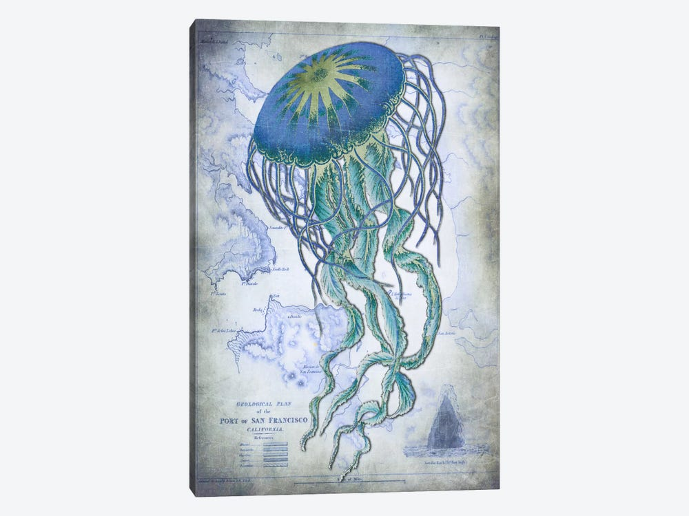 Jellyfish On Image Of Nautical Map by Fab Funky 1-piece Canvas Art