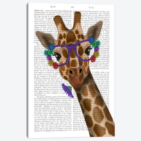 Chewing Giraffe I Canvas Print #FNK560} by Fab Funky Canvas Print