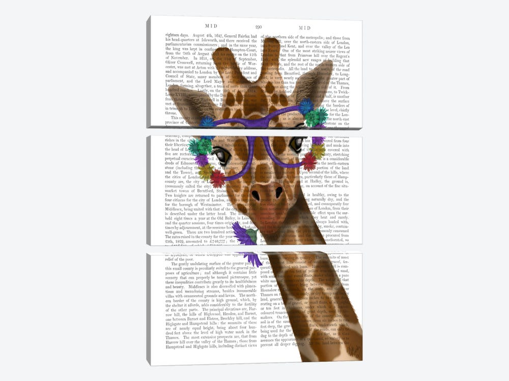 Chewing Giraffe I by Fab Funky 3-piece Canvas Art