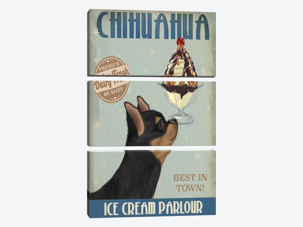 Chihuahua, Black and Ginger, Ice Cream by Fab Funky 3-piece Art Print