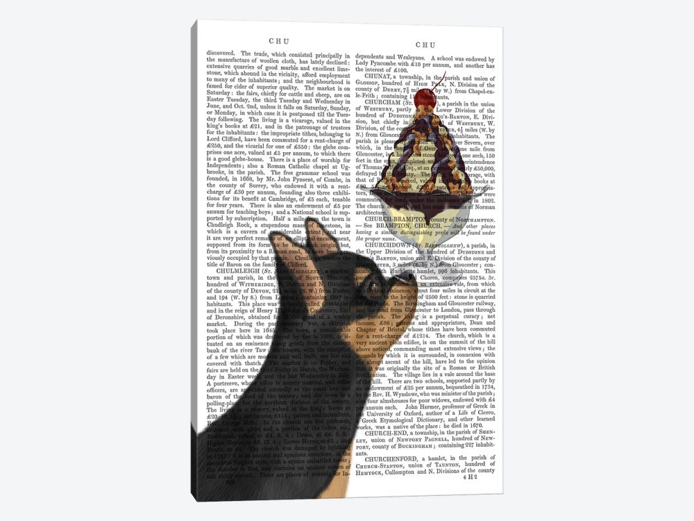 Chihuahua, Black and Ginger, Ice Cream, Print BG by Fab Funky 1-piece Canvas Art
