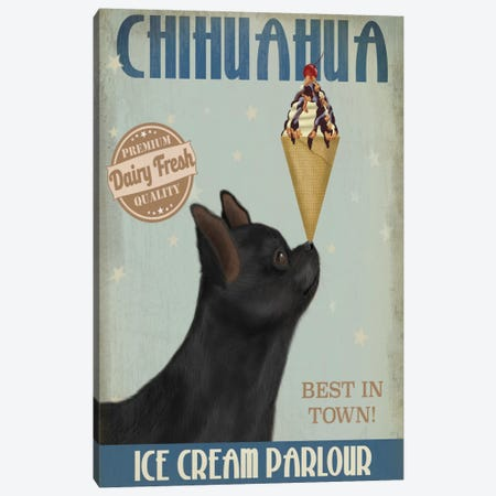 Chihuahua, Black, Ice Cream Canvas Print #FNK563} by Fab Funky Art Print