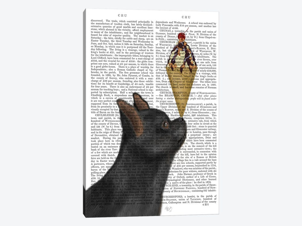 Chihuahua, Black, Ice Cream, Print BG 1-piece Canvas Artwork