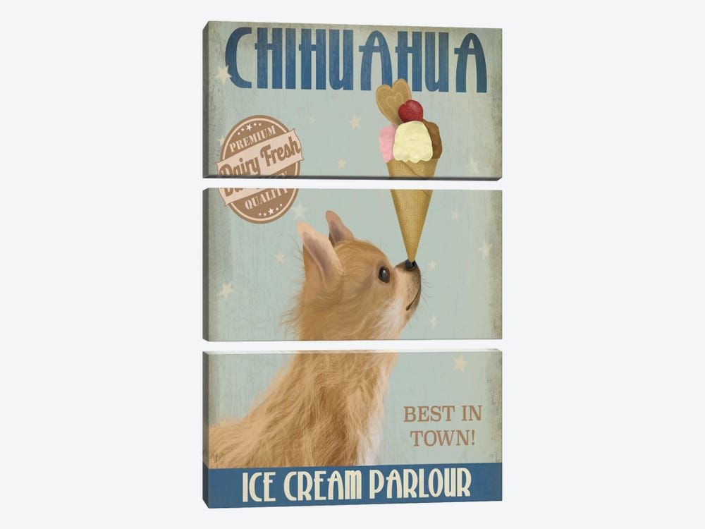 Chihuahua, Long Haired, Ice Cream by Fab Funky 3-piece Canvas Art Print