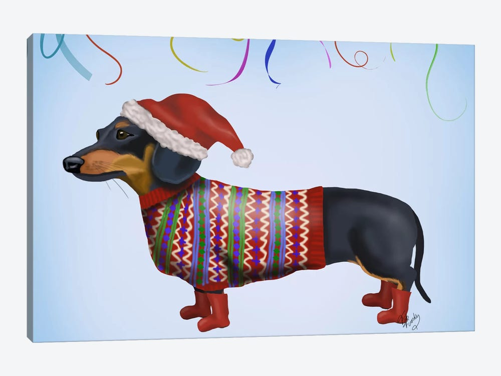 Christmas Dachshund by Fab Funky 1-piece Canvas Print d5c233b80b45