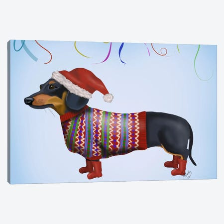Christmas Dachshund Canvas Print #FNK570} by Fab Funky Canvas Wall Art