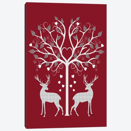 Christmas Des - Deer and Heart Tree, Grey on Red Canvas Print #FNK571} by Fab Funky Canvas Artwork