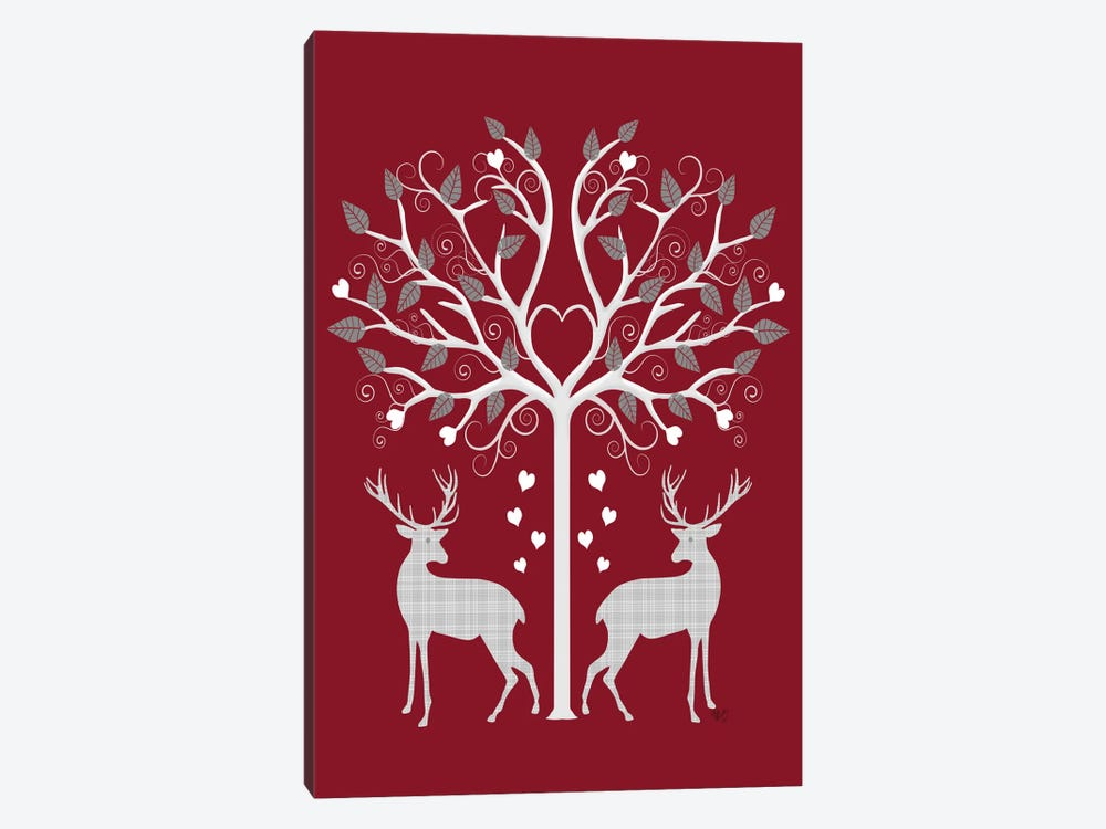 Christmas Des - Deer and Heart Tree, Grey on Red by Fab Funky 1-piece Canvas Wall Art