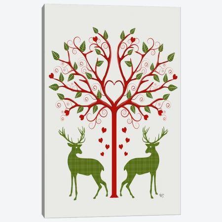 Christmas Des - Deer and Heart Tree, On Cream 3-Piece Canvas #FNK572} by Fab Funky Canvas Wall Art