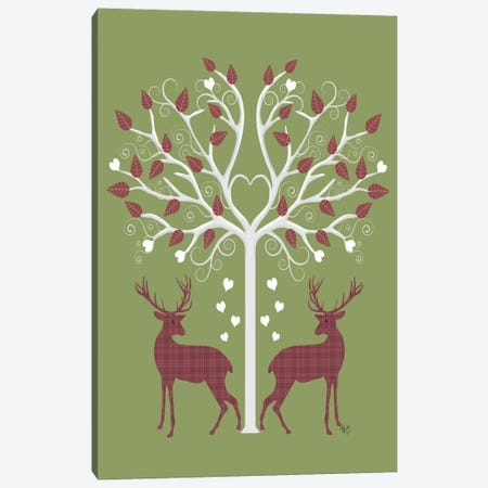 Christmas Des - Deer and Heart Tree, Pink On Green Canvas Print #FNK573} by Fab Funky Canvas Art