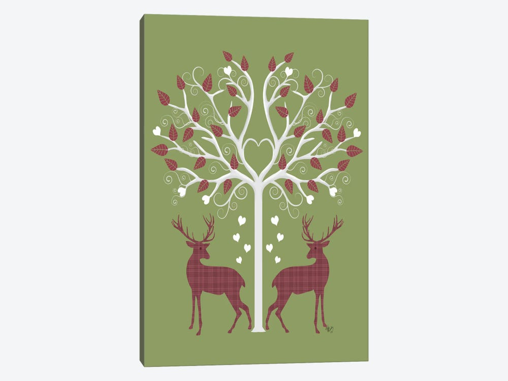 Christmas Des - Deer and Heart Tree, Pink On Green by Fab Funky 1-piece Canvas Artwork
