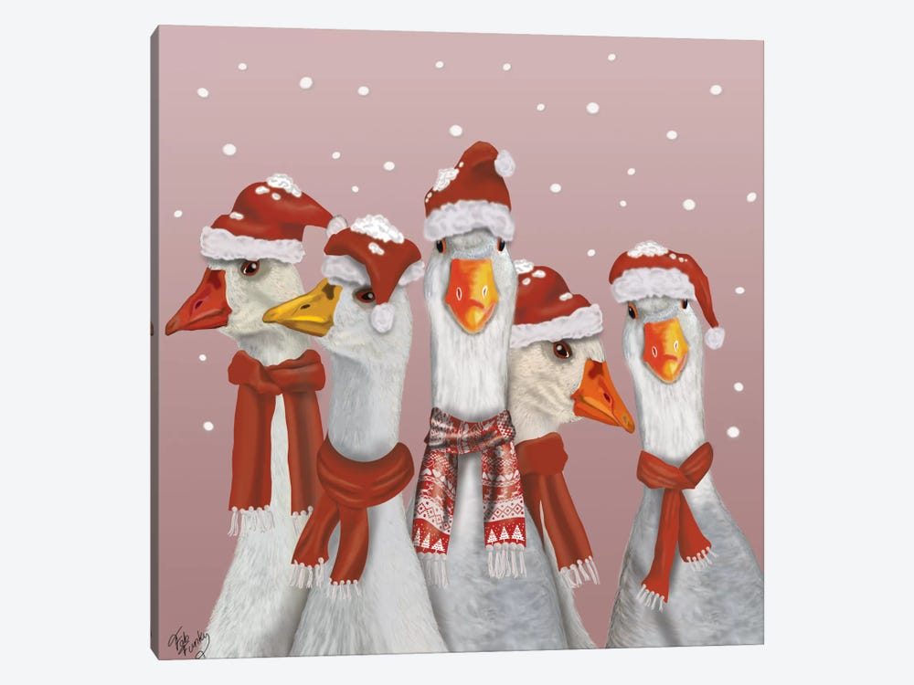 Christmas Gaggle of Geese by Fab Funky 1-piece Art Print