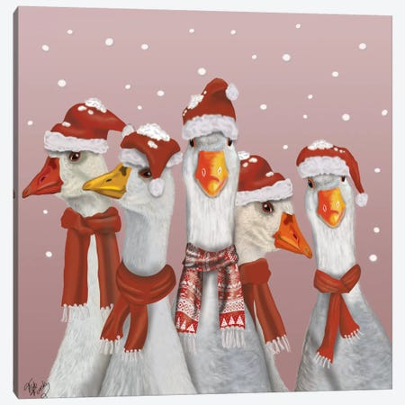 Christmas Gaggle of Geese Canvas Print #FNK574} by Fab Funky Art Print