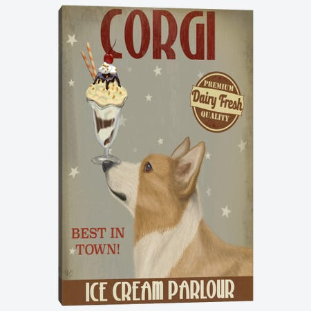 Corgi, Tan, Ice Cream Canvas Print #FNK581} by Fab Funky Art Print