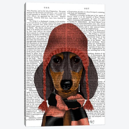 Dachshund in Pink Hat and Scarf Canvas Print #FNK583} by Fab Funky Canvas Art Print