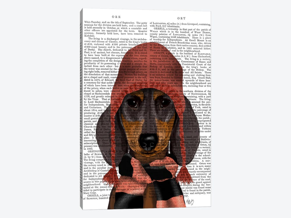 Dachshund in Pink Hat and Scarf by Fab Funky 1-piece Art Print