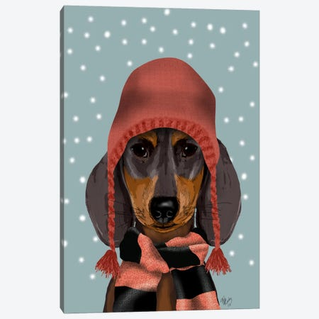 Dachshund With Woolly Hat & Scarf Canvas Print #FNK584} by Fab Funky Canvas Artwork