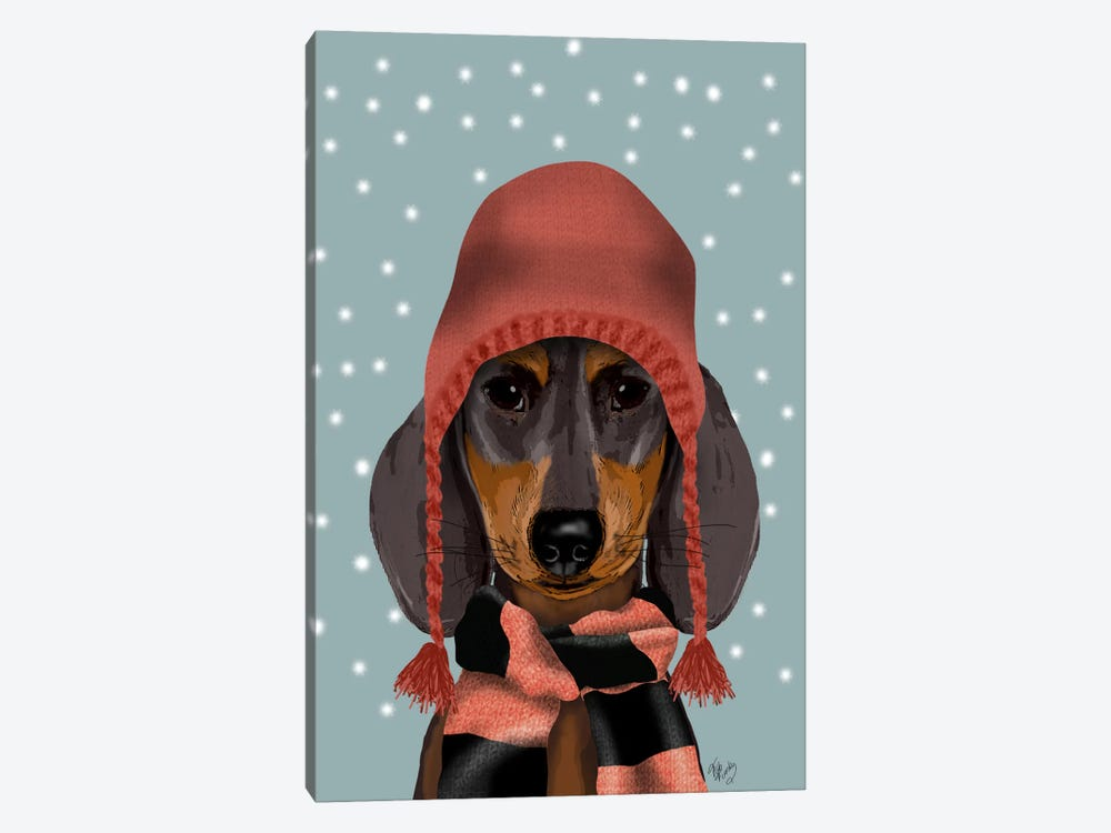 Dachshund With Woolly Hat & Scarf by Fab Funky 1-piece Canvas Artwork