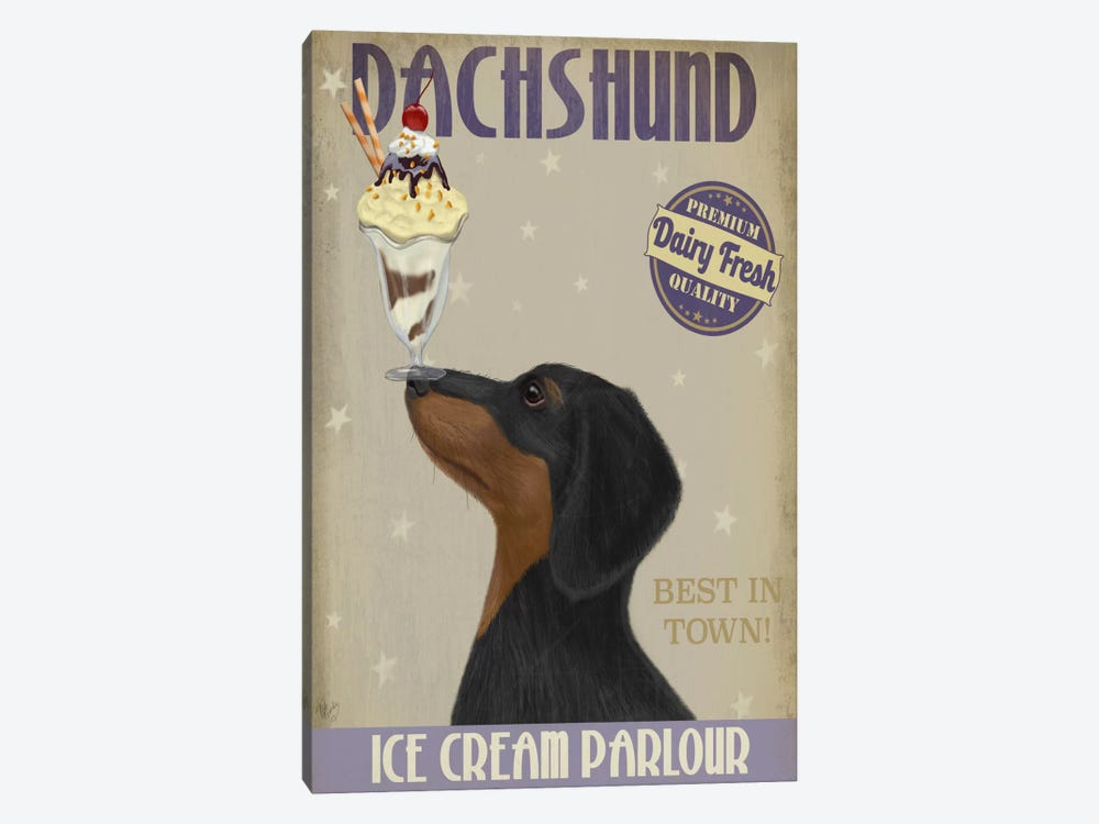 Dachshund, Black and Tan, Ice Cream by Fab Funky 1-piece Canvas Art Print