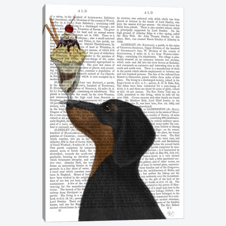 Dachshund, Black and Tan, Ice Cream, Print BG Canvas Print #FNK586} by Fab Funky Canvas Art