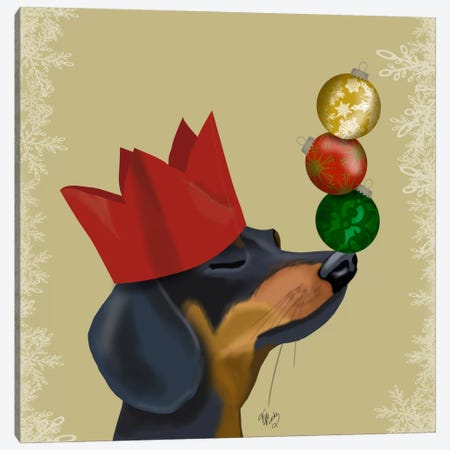 Dachshund, Party Trick Baubles Canvas Print #FNK589} by Fab Funky Canvas Art Print