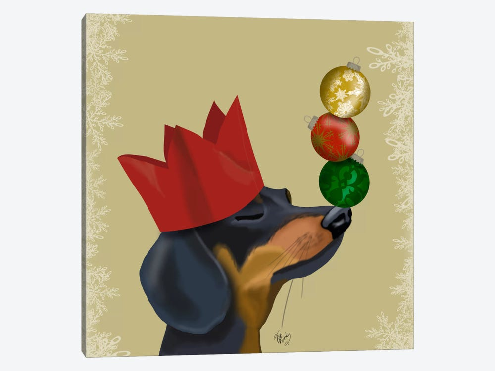 Dachshund, Party Trick Baubles by Fab Funky 1-piece Canvas Print