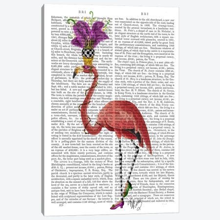 Mardi Gras Flamingo Canvas Print #FNK58} by Fab Funky Canvas Art
