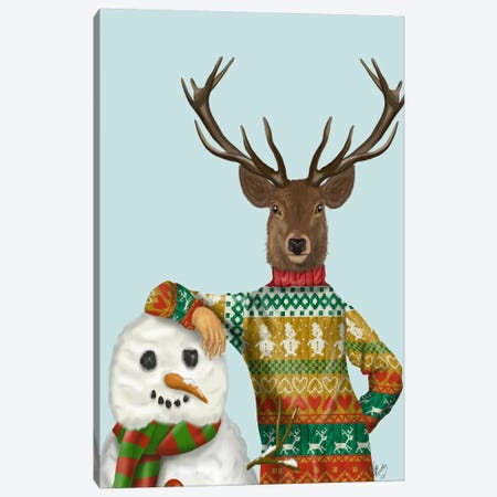 Deer in Christmas Sweater with Snowman Canvas Print #FNK590} by Fab Funky Canvas Art