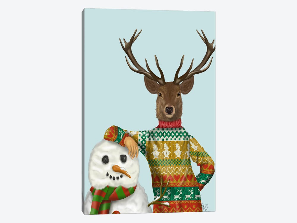 Deer in Christmas Sweater with Snowman by Fab Funky 1-piece Canvas Print
