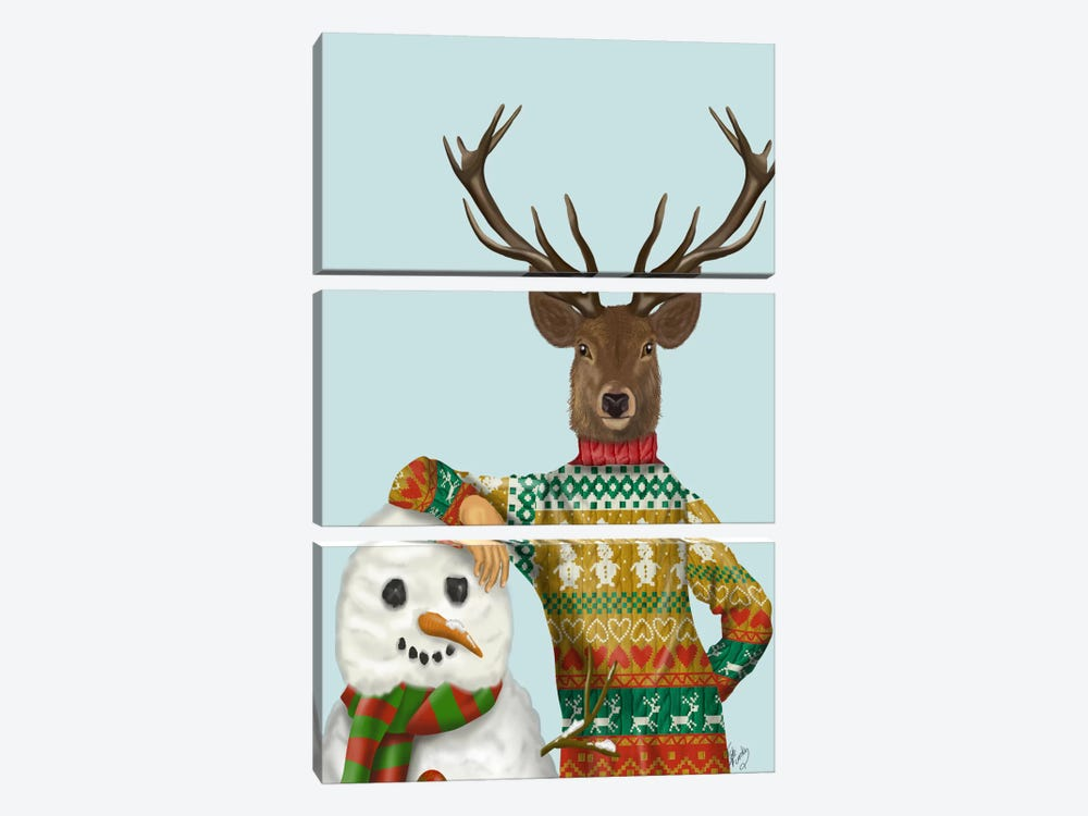 Deer in Christmas Sweater with Snowman by Fab Funky 3-piece Canvas Art Print