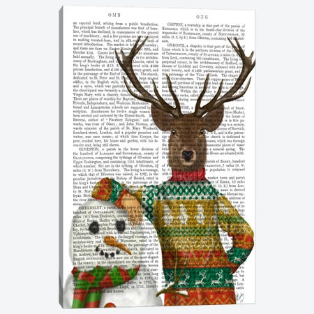 Deer in Christmas Sweater with Snowman, Print BG Canvas Print #FNK591} by Fab Funky Canvas Artwork