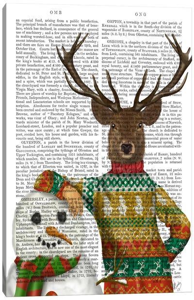 Deer in Christmas Sweater with Snowman, Print BG Canvas Art Print