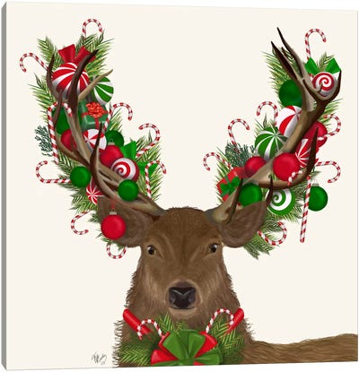 Deer, Candy Cane Wreath Canvas Art Print