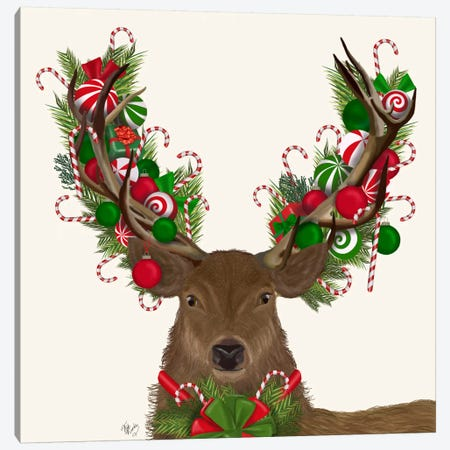 Deer, Candy Cane Wreath Canvas Print #FNK592} by Fab Funky Canvas Art