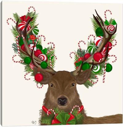 Deer, Candy Cane Wreath Canvas Art Print